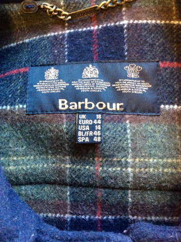 BARBOUR BUTTERMERE DARK BLUE WOOL BLEND HOODED DUFFLE COAT SIZE 18 FIT 16
