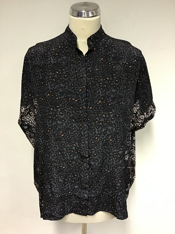 ALL SAINTS INK BLUE SILK FLEET VIRGO SHORT SLEEVE SHIRT SIZE 8