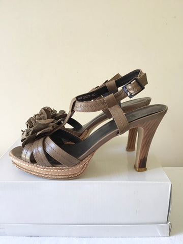 JIGSAW BROWN LEATHER FLOWER TRIM HEELED SANDALS SIZE 7/40
