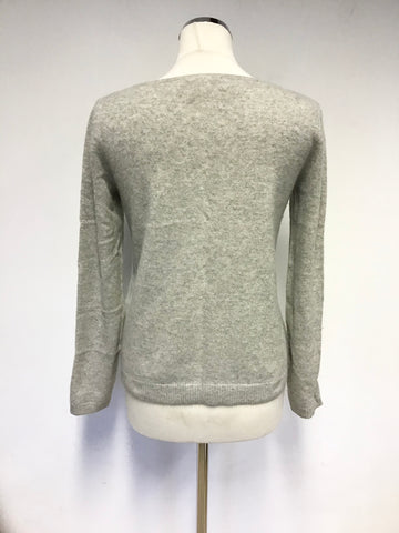 WHITE STUFF LIGHT GREY CASHMERE JUMPER SIZE 10