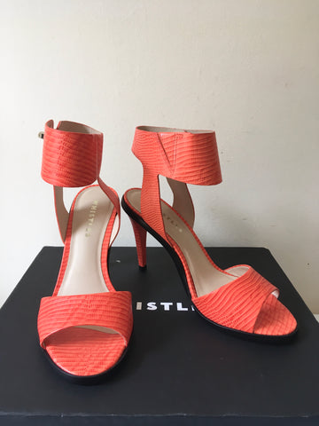BRAND NEW WHISTLES GRAPEFRUIT ORANGE LEATHER ANKLE STRAP HEEL SANDALS SIZE 3.5/36