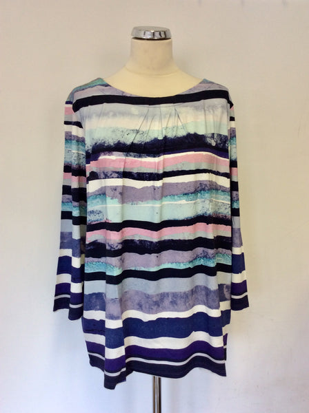 BRAND NEW ARTIGIANO WEEKEND MULTI COLOURED STRIPE 3/4 SLEEVE TOP SIZE 24