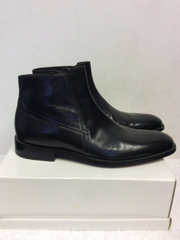 BRAND NEW MARKS & SPENCER COLLEZIONE BLACK LEATHER ANKLE BOOTS SIZE 8.5/42.5