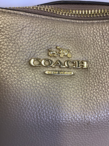 COACH PALE GOLD LEATHER TOTE BAG WITH GOLD CHAIN SHOULDER STRAPS