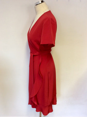 LA DRESS BY SIMONE RED CAP SLEEVE WRAP ACROSS DRESS SIZE L