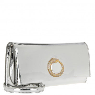 BRAND NEW CAVALLI CLASS SILVER SNAKE EMBELLISHED CLUTCH/ SHOULDER BAG