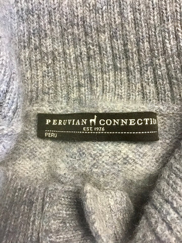 PERUVIAN CONNECTION GREY 100% ROYAL ALPACA LONG SLEEVE CARDIGAN SIZE L