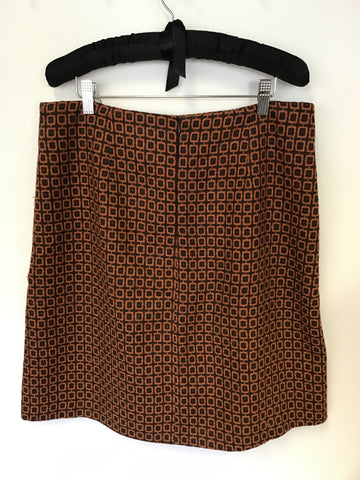 PHASE EIGHT BROWN & DARK ORANGE PRINT WOOL BLEND A LINE SKIRT SIZE 14