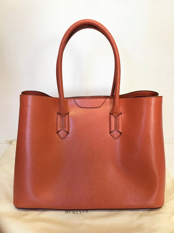 BRAND NEW RALPH LAUREN ORANGE LEATHER TOTE BAG