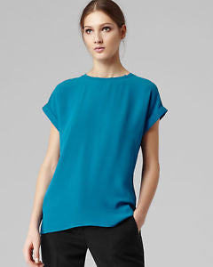 BRAND NEW REISS PEACOCK BLUE SLIT BACK TOP SIZE 10