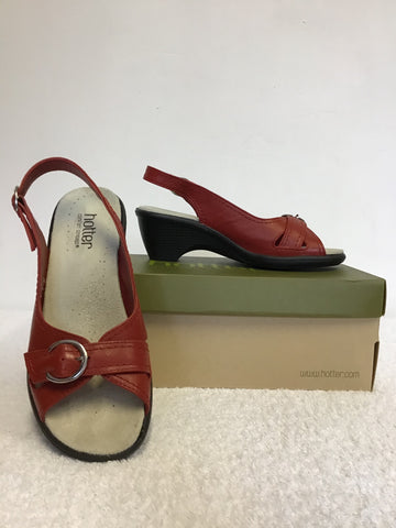 BRAND NEW HOTTER RED LEATHER COMFORT HEEL SANDALS SIZE 4/37
