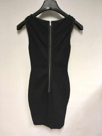 KAREN MILLEN BLACK & BRONZE PANEL TRIM BODYCON DRESS SIZE 8