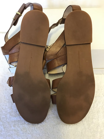BRAND NEW FRENCH CONNECTION TAN LEATHER FLAT GLADIATOR SANDALS SIZE 5/38