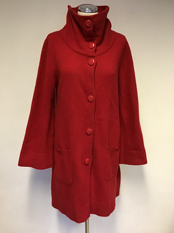 PHASE EIGHT RED KNIT LAMBSWOOL BUTTON FRONT COAT SIZE 14