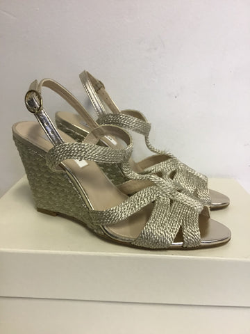 LK BENNETT RIPLEY PALE GOLD ROPE LEATHER WEDGE HEEL SANDALS SIZE 3.5/36
