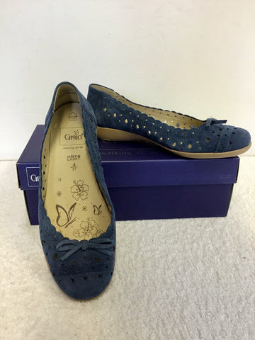 BRAND NEW CAPRICE BLUE ULTRA LIGHT SUEDE FLAT PUMPS SIZE 4/37