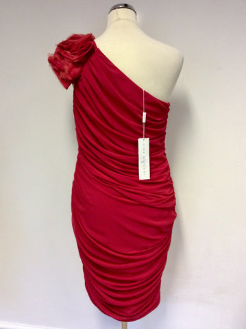 BRAND NEW GINA BACCONI RED ONE SHOULDER COCKTAIL/ OCCASION DRESS SIZE 14