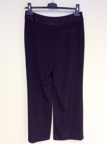 FENN WRIGHT MANSON BLACK FORMAL WIDE LEG TROUSERS SIZE 10
