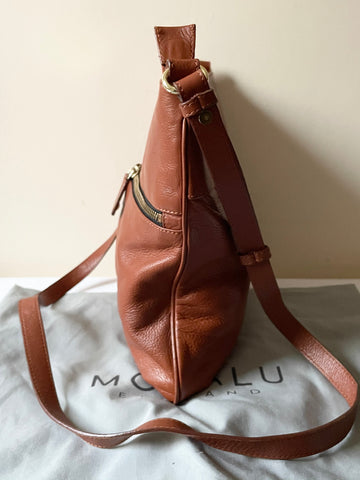 MODALU TAN LEATHER CROSS BODY BAG
