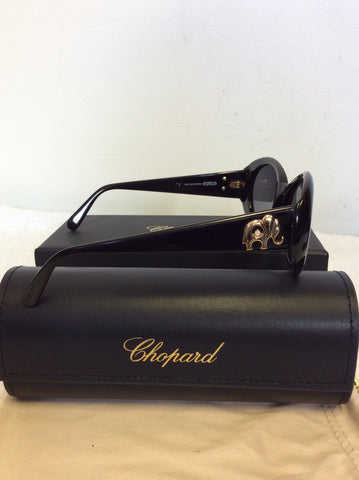 VINTAGE CHOPARD BLACK GOLD ELEPHANT TRIM SUNGLASSES