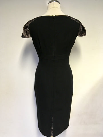 MARKS & SPENCER AUTOGRAPH BLACK LACE & VELVET TRIM SPECIAL OCCASION DRESS SIZE 10