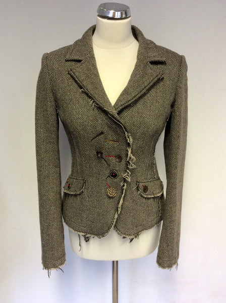 MISS SIXTY BROWN HERRINGBONE WOOL BLEND JACKET SIZE M