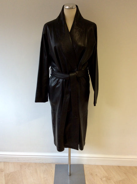 JASPER CONRAN BLACK LEATHER BELTED LONG COAT SIZE 12 FIT SIZE 14/16
