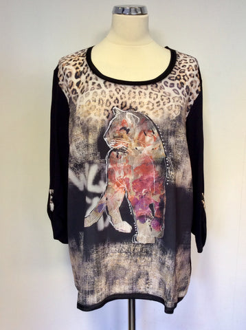 BRAND NEW BARBARA LEBEK BLACK PRINT STUD TRIM TOP SIZE 20