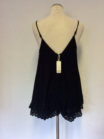 BRAND NEW JAPNA BLACK LACE TRIM STRAPPY PLAYSUIT SIZE S