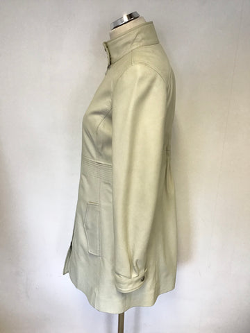 ARMANI EXCHANGE CREAM LEATHER ZIP UP LONG JACKET SIZE M
