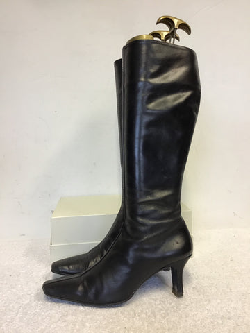 ROBERTO VIANNI BLACK LEATHER KNEE LENGTH BOOTS SIZE 4/37