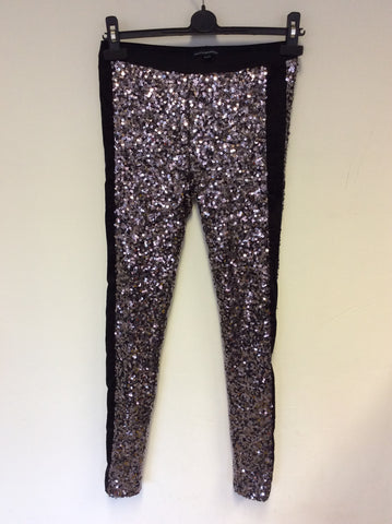 BRAND NEW FRENCH CONNECTION BRONZE SEQUIN LEGGINGS SIZE 6