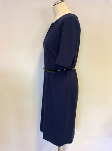 PRÉCIS PETITE DARK BLUE SHORT SLEEVE BELTED PENCIL DRESS SIZE 14