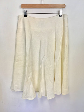 HOBBS IVORY LINEN FINEST ITALIAN CLOTH FULLER KNEE LENGTH SKIRT SIZE 14
