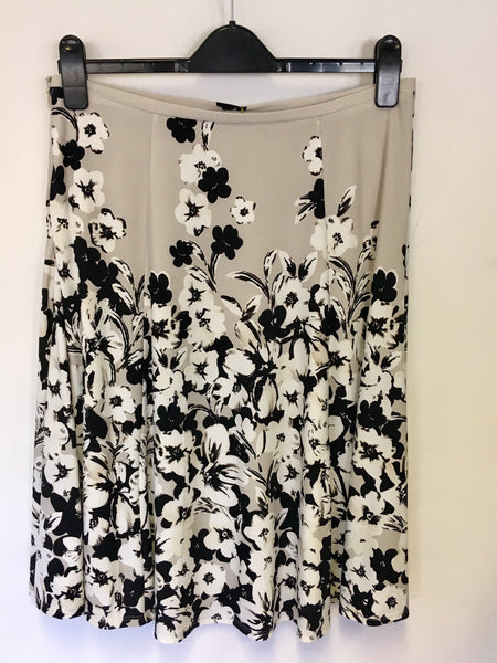 Brand New Precis Petite Beige Black White Floral Print Skirt Size 12 Whispers Dress Agency