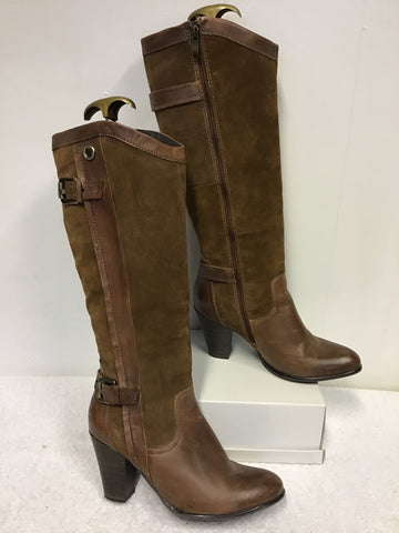 MARCO TOZZI TAN SUEDE & LEATHER KNEE LENGTH BOOTS SIZE 6/39