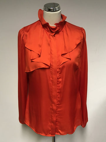 REISS CORAL ORANGE PLEATED FRILL TRIM LONG SLEEVE BLOUSE SIZE 12