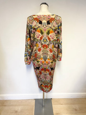 BRAND NEW ALEXANDER MCQUEEN MULTICOLOURED PRINT 100% WOOL 3/4 SLEEVE DRESS SIZE XL