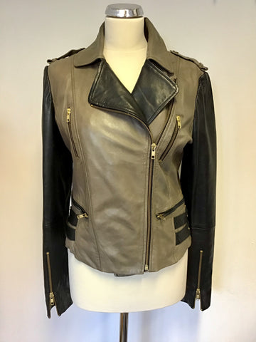 OUI BLACK & BROWN SOFT LEATHER ZIP UP BIKER JACKET SIZE 14