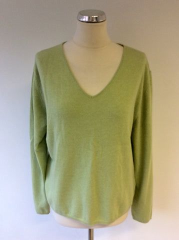 ARTIGIANO LIGHT GREEN V NECK MERINO WOOL BLEND JUMPER SIZE 20