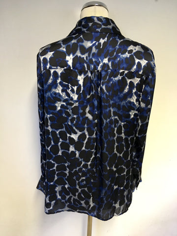 PLANET BLACK,BLUE & GREY PRINT LONG SLEEVE BLOUSE SIZE 14