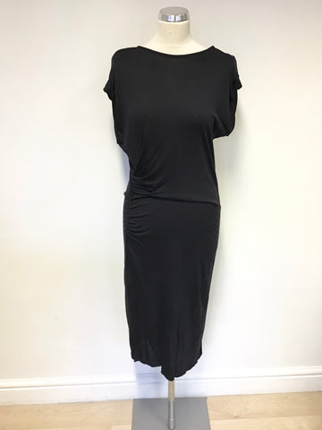ALL SAINTS BLACK STRETCH  DRAPED CAP SLEEVE ALIX DRESS SIZE 8 / 10