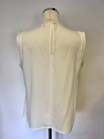 LK BENNETT MALEA IVORY PLEATED FRONT SLEEVELESS TOP SIZE 14