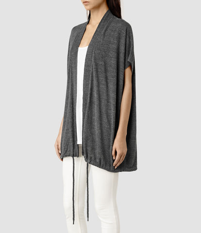 ALL SAINTS CHARCOAL GREY KNIT SHORT SLEEVE DRAWSTRING TIE GILET SIZE L