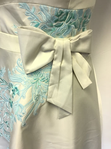 BRAND NEW KAREN MILLEN IVORY & TURQUOISE EMBROIDERED SPECIAL OCCASION DRESS SIZE 12
