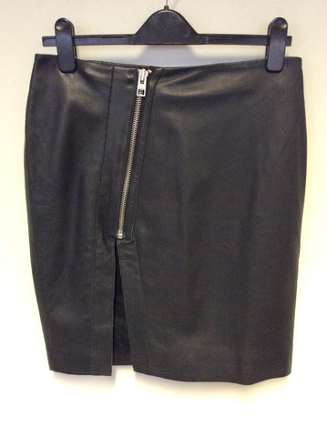 ALL SAINTS LUCIELLE SPLIT BLACK LEATHER SKIRT SIZE 12