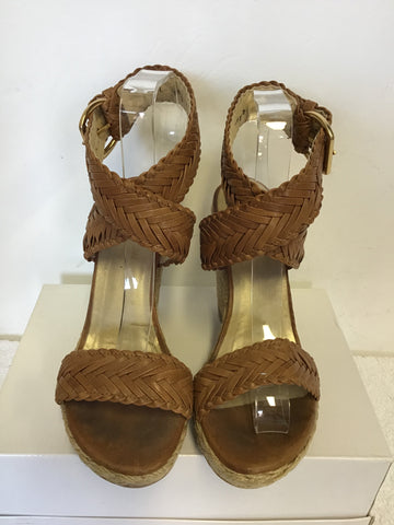 STUART WEITZMAN ELEXIR TAN LEATHER WEDGE HEEL SANDALS SIZE 7/40