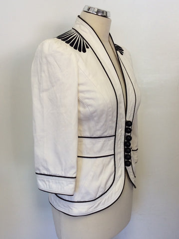 JAEGER WHITE WITH BLACK TRIM 3/4 SLEEVE COTTON JACKET SIZE 8