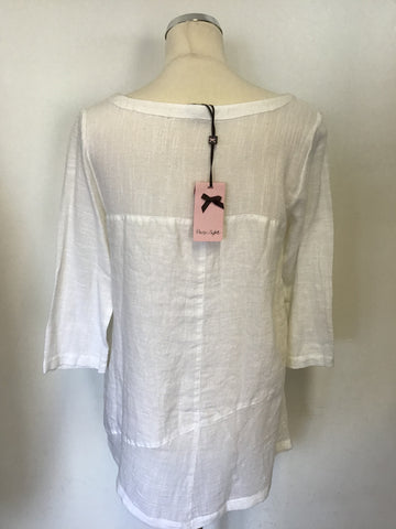 BRAND NEW PHASE EIGHT WHITE COTTON & LINEN TOP SIZE 8