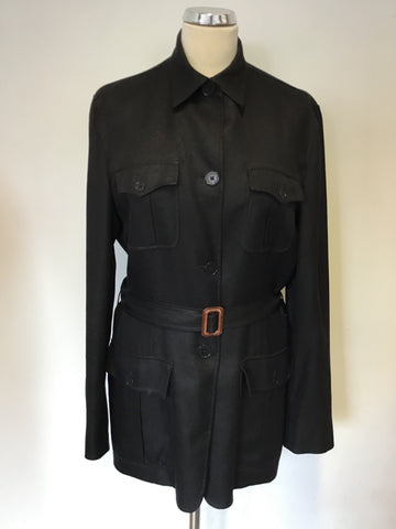 RALPH LAUREN BLACK SILK BELTED JACKET SIZE L